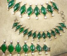 Fabulous vintage Chrysoprase Pearl sterling bracelet Edwardian design Stone of Venus