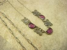 Vintage Art Deco czech PURPLE Necklace Lovebirds filigree choker