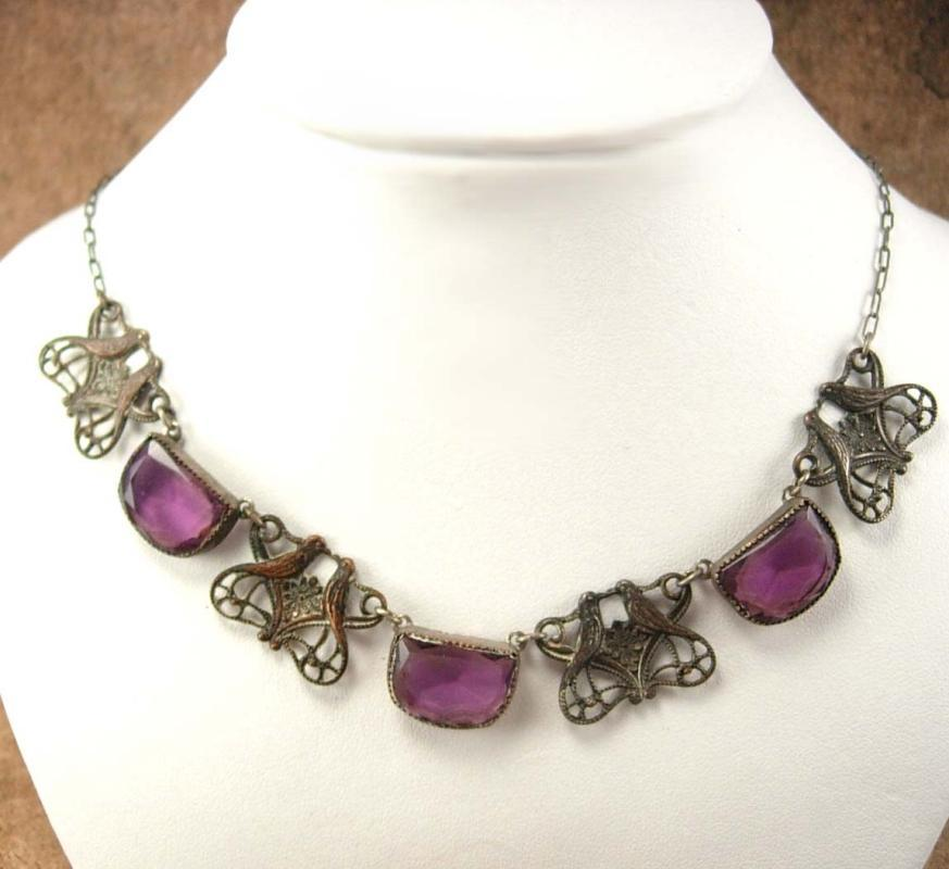 Vintage Art Deco czech PURPLE Necklace Lovebirds filigree choker