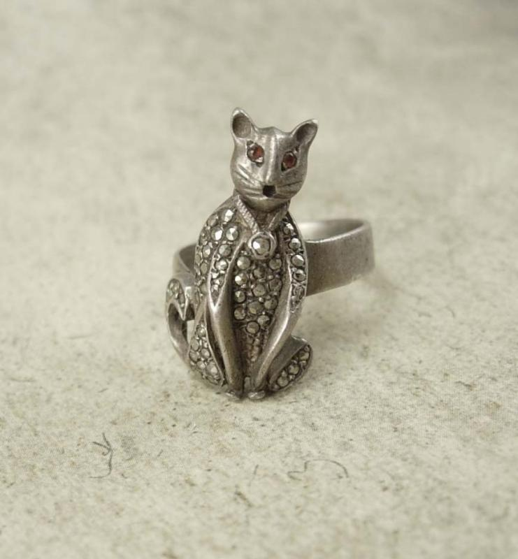 Vintage Art Deco Sterling Cat Ring Panther or Leopard marcasites and red jeweled eyes