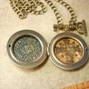 Victorian Steampunk  Key and Padllock locket necklace Gothic baroque Medieval Cross inside