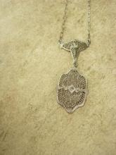 1920 Art deco Filigree Paste Necklace Gorgeous detailing Original rhinestone