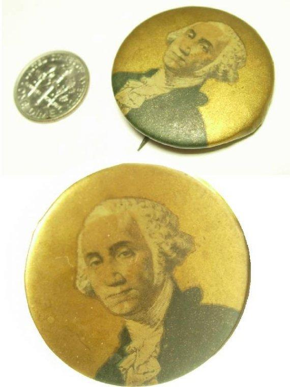 ANtique Dated 1800 Political GEORGE WASHINGTON GILT Portrait Button brooch