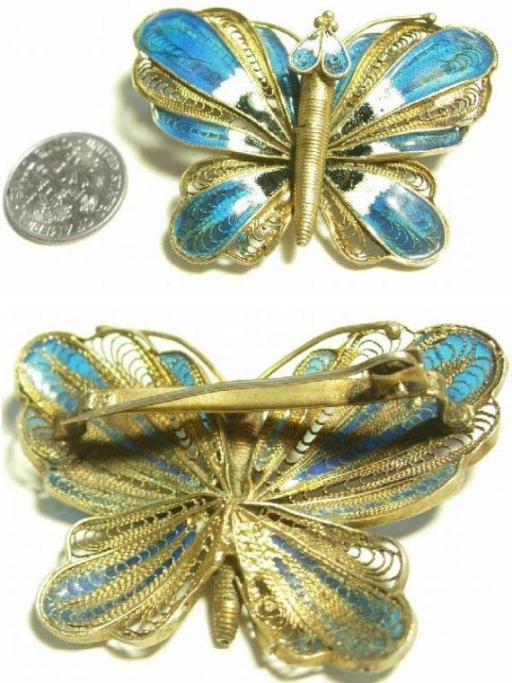 Vintage PLIQUE-A-JOUR gilt Sterling Deco Butterfly and little baby BROOCH