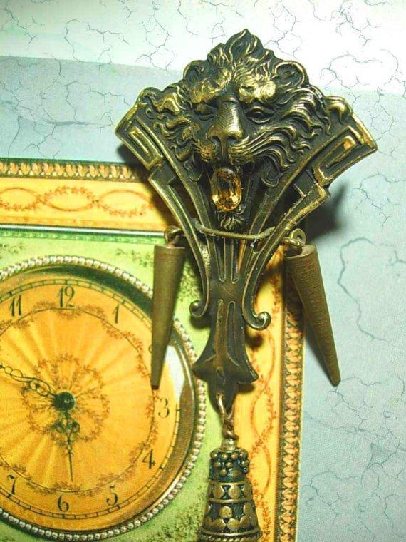 Vintage C clasp Gothic lion brooch 1\/4 ct citrine Genuine carnelain drop