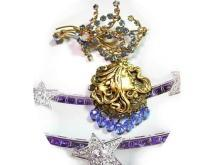 Vintage Austrian mucha Goddess mythical chatelaine locket brooch signed