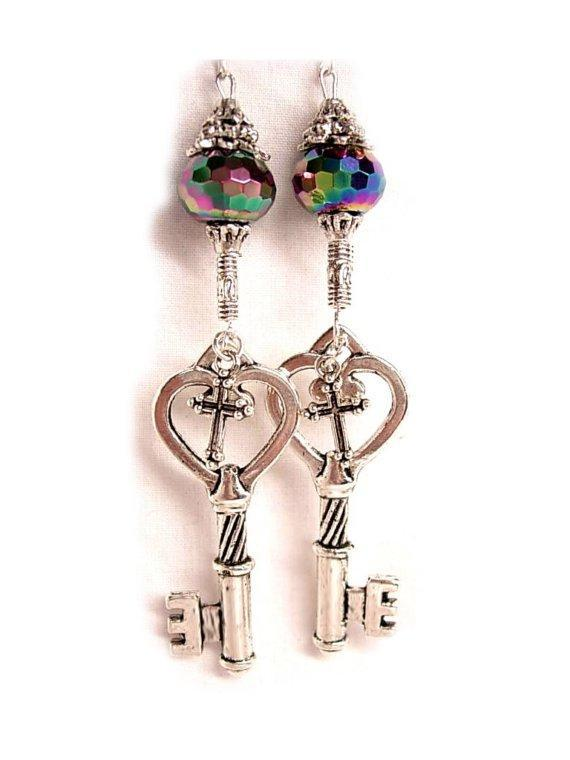 LONG STerling GOTHIC Skeleton and Cross KEY Charm drop earrings STUNNING GLASS stones