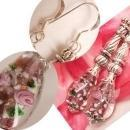Sterling blown glass paperweight PInk Roses long drop earrings