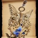Exotic Garden deco Nymph glass necklace with dragonfly charms fairy butterfly with rhinestones