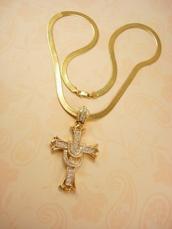 Glorious HUGE rhinestone Cross necklace Large heavy Chain