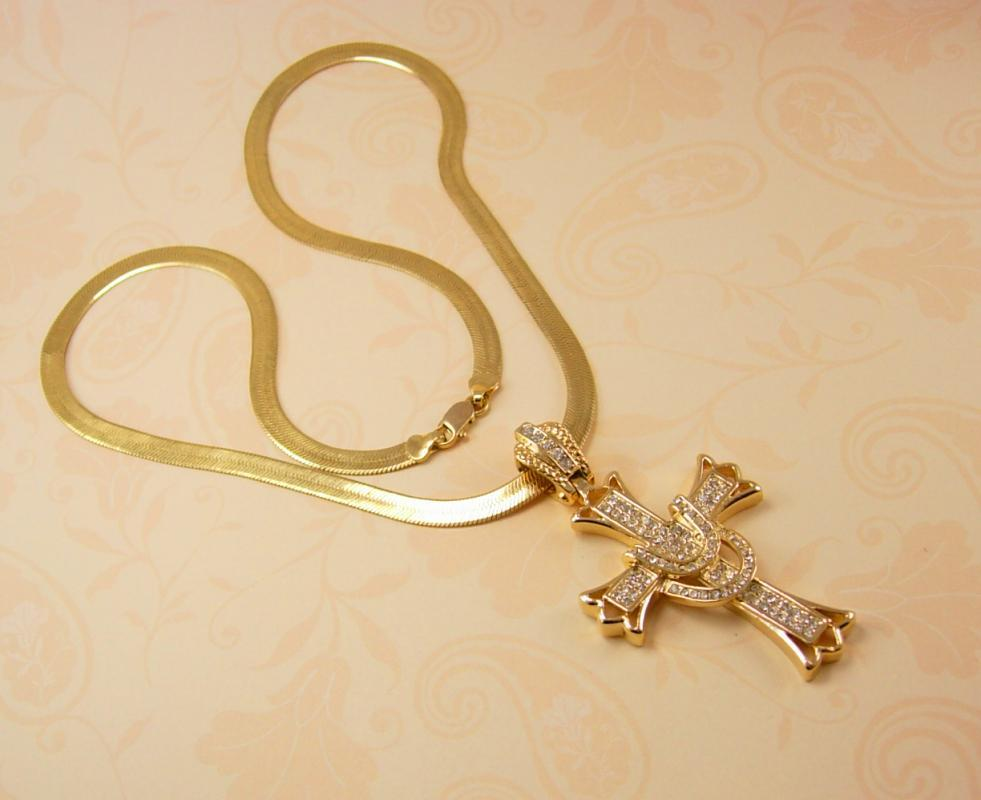 Glorious HUGE rhinestone Cross necklace Large heavy Chain