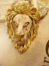 HUGE fierce Lion necklace Razza Unsigned Gold eyes long fancy chain