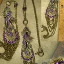 Dramatic PURPLE rhinestone Peacock chandelier necklace LONG swags