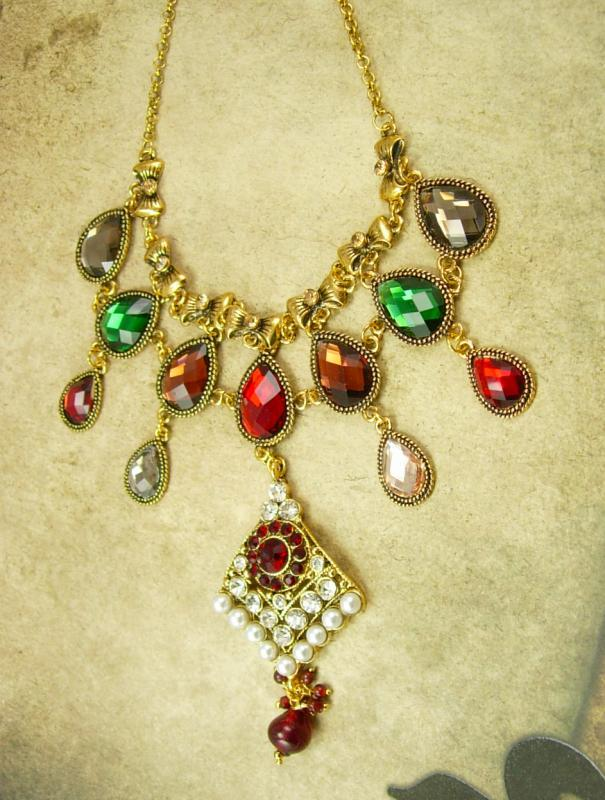 Persian Jeweled Drop Bib Necklace pearls and rhinestones statement necklace