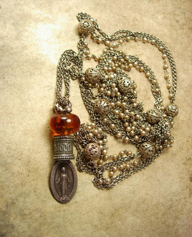 Antique 1830 Sterling Miraculous Medal Rosary Necklace Sacred Heart