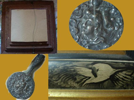 AWESOME antique Victorian mourning shadowbox Carved Bird Frame