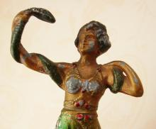 Antique Snake Charmer Metal statue Bronze Serpent temptress