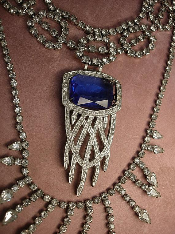 Art Deco Pendant Necklace Statement necklace dripping in rhinestones costume jewelry