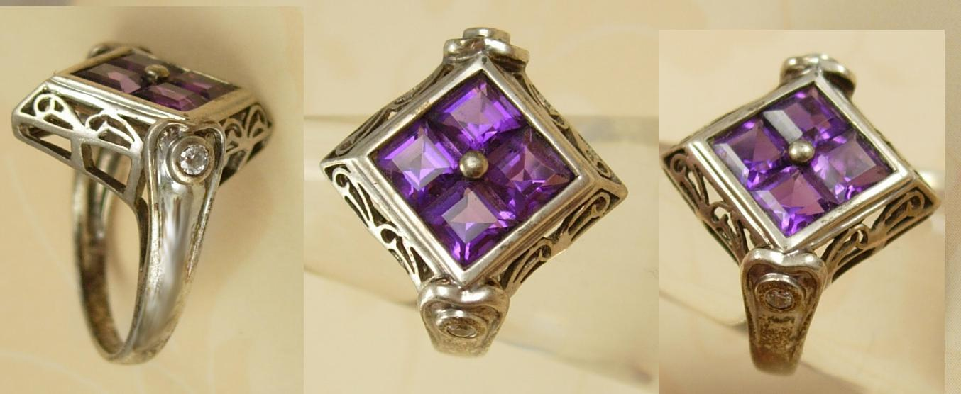 Vintage Art deco Amethyst sterling Ring Gorgeous setting with filigree
