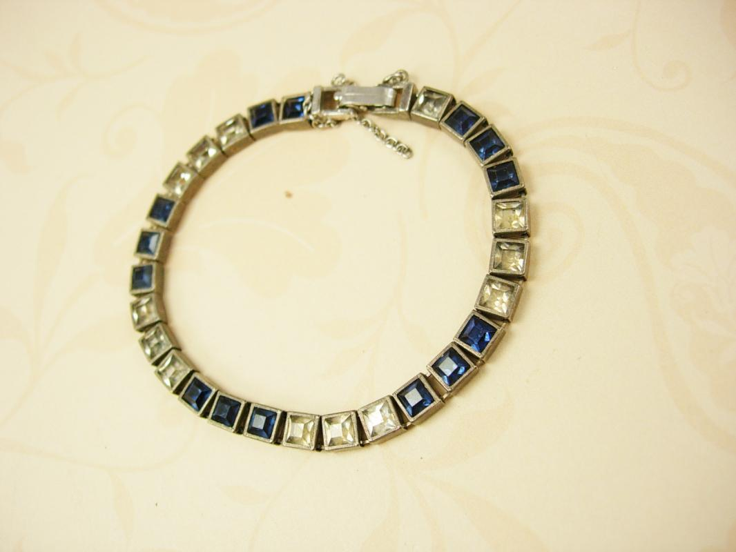 Vintage Sterling Art Deco Bracelet Blue and clear Paste stones