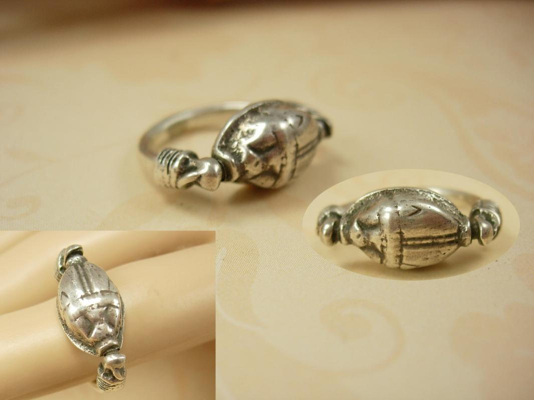 Vintage Sterling Scarab Mechanical Flip Ring Hallmarked Egyptian ring