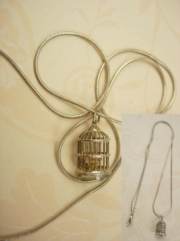 Vintage Sterling birdcage and gilded bird necklace pendant Marie Antoinette