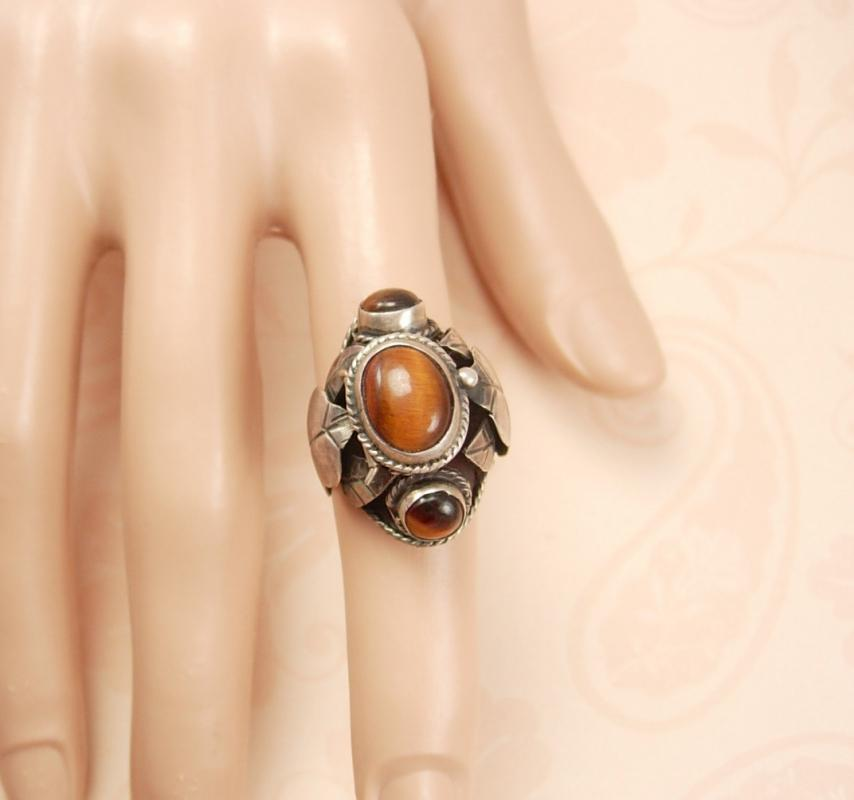 Vintage Art Nouveau sterling tigereye Ring HUGE  dramatic setting hallmarked eagle