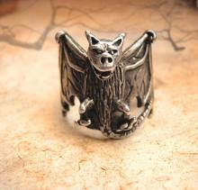 HUGE Halloween FIERCE sterling Gothic Bat Ring SIGNED