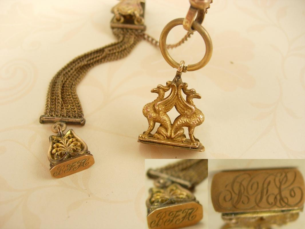 Antique Griffin Mythical Creature watch fob and chain with wax seals