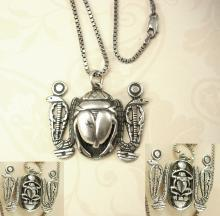 BIG VIntage Hallmarked Scarab Snake necklace Sterling Egyptian revival Detailed back touch marks on front