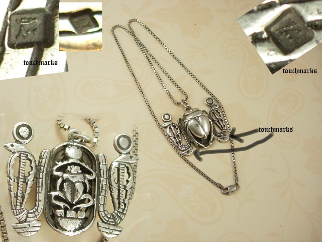 BIG VIntage Hallmarked Scarab Snake necklace Sterling Egyptian revival Detailed back touch marks on front
