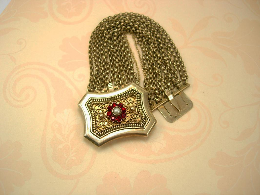 Antique 1800's sterling austro Hungarian Bracelet hallmarked garnets and pearls