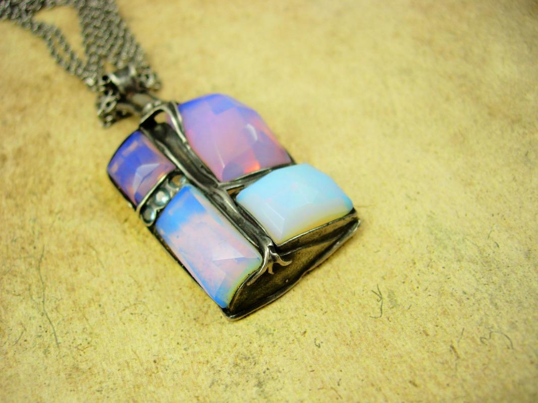 Vintage Mystical Signed Opal sterling huge necklace hand faceted stones Amir Paron