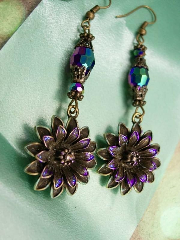 Aurora Borealis Chandelier earrings Iridescent flowers with glass beads