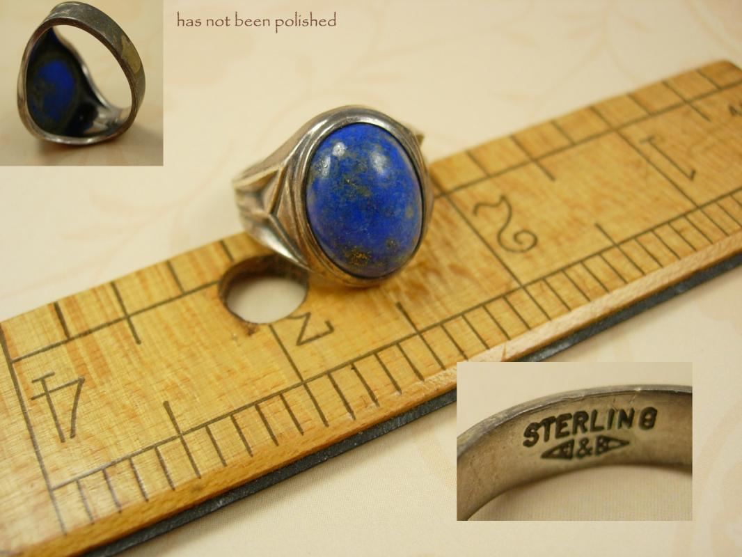 Vintage Deco  Lapis Signed Sterling ring Wide settings Size 9 1/2