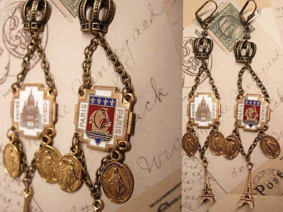 Romantic Paris Enamel Drop earrings with Eiffel Tower and sacred heart medals