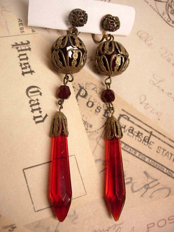 30's RED glass Drop earrings with fancy old filigree
