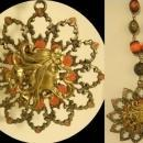 Exotic Medussa GOddess coral enamel Mucha woman necklace