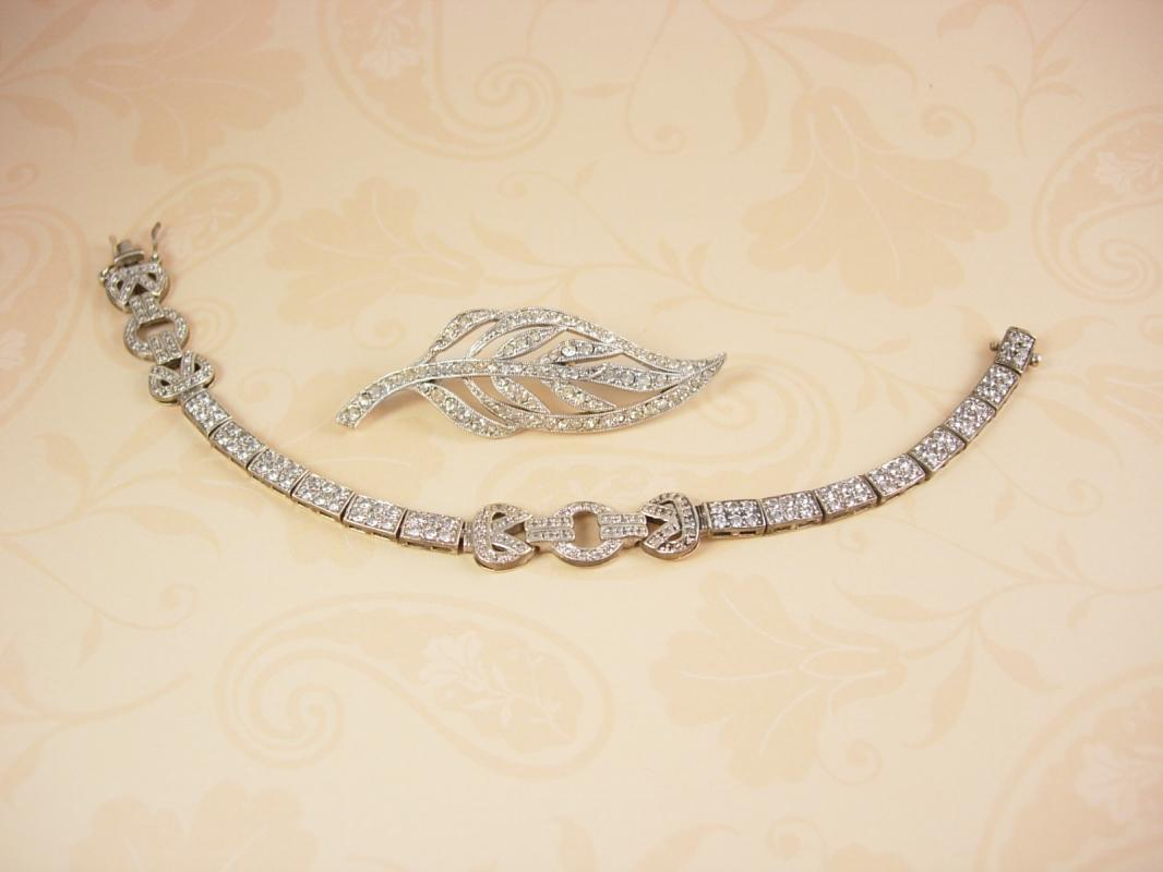 Sterling Art Deco Bracelet and Brooch Pave rhinestones