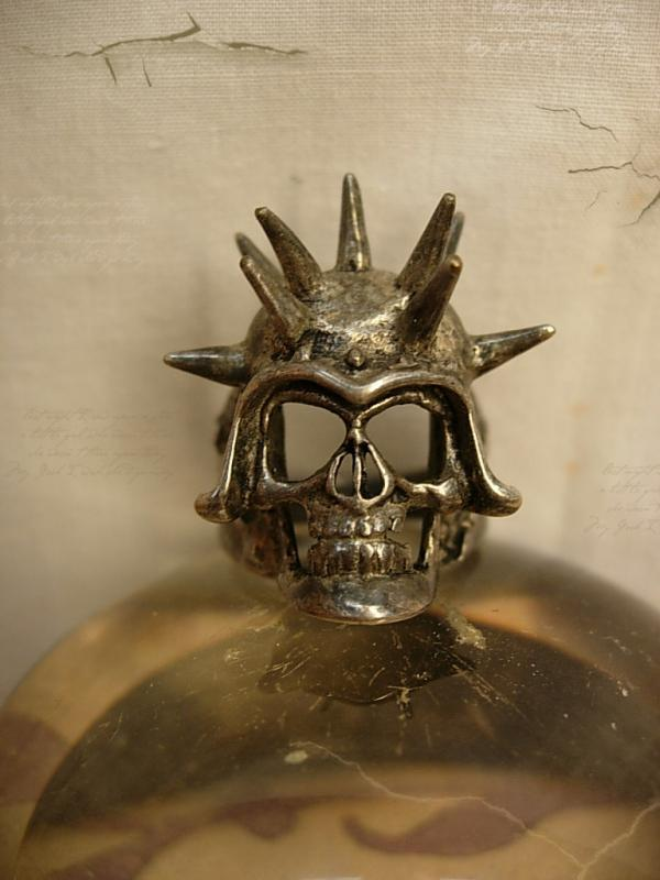 Huge Gothic Skull ring sterling with spiked on his helmet