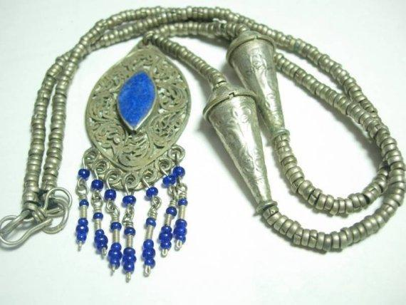 VIntage Bohemian Chic Lapis fringe necklace fancy hand wrought beads