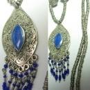 VIntage Bohemian Chic Lapis fringe necklace fancy hand wrought beads