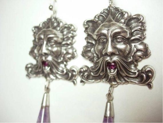 8CT genuine amethyst Bacchus medieval huge nouveau style drop earrings