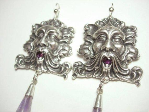 8CT genuine amethyst Bacchus medieval huge nouveau style drop earrings