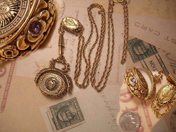 Medusa Flip fob jeweled SLide necklace with miraculous medal