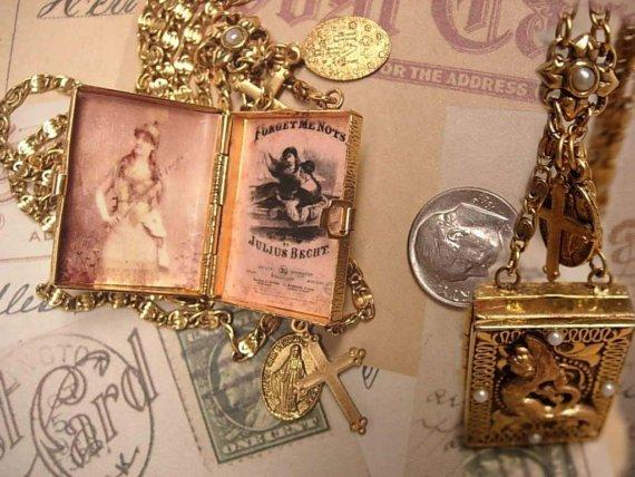 Mermaid Locket necklace Forget me not religious cross & medal gold filled Chain fob charms book locket pearls from the sea