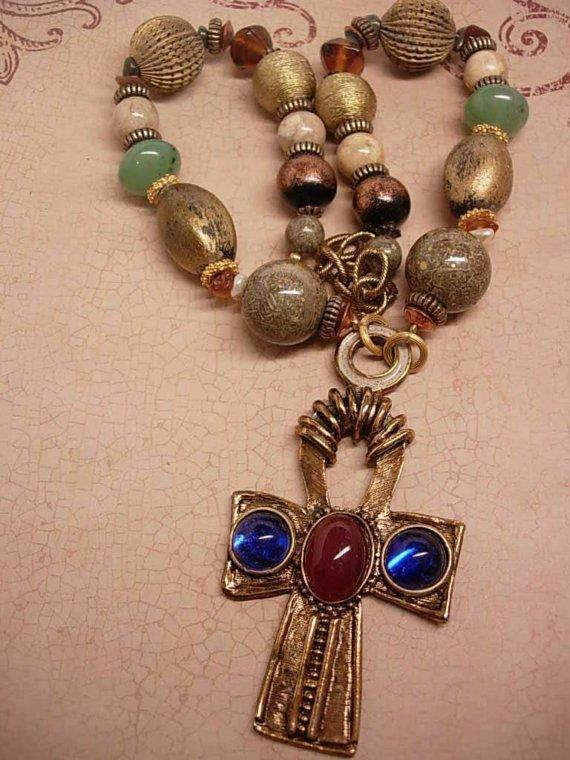Chunky Vintage Gypsy Goddess of Eternal Life Ankh Necklace signed