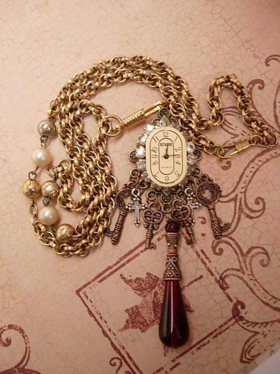 Jeweled Gypsy Gothic Steampunk Drop Necklace with keys to the castle