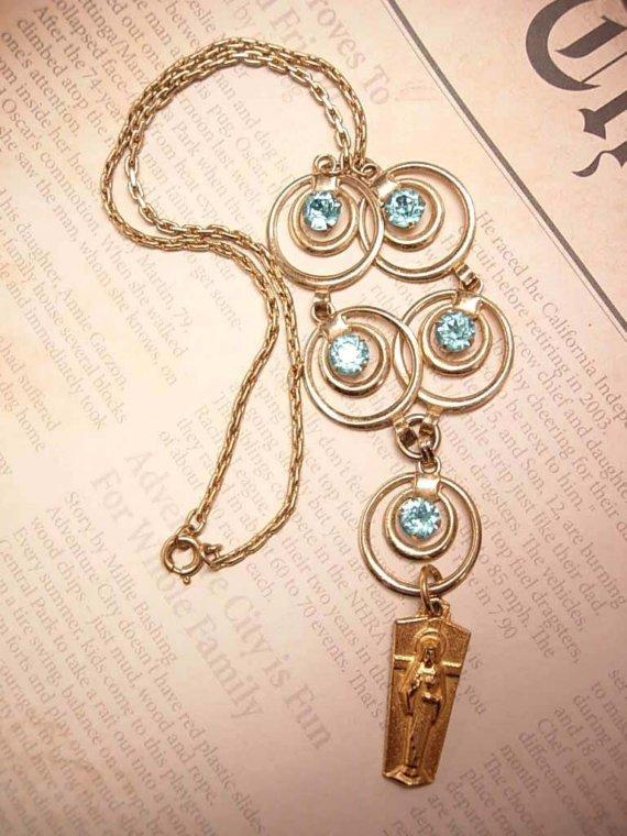 Gold filled OUR Lady Gilt MEdal jeweled vintage necklace