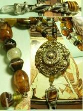 Healing Crystal Renaissance semi precious agate glass necklace Dramatic medieval Maiden